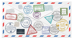 Retro Postal Envelope Template Stock Photos