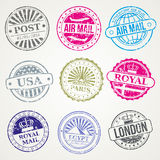 Retro postal stamps mail post office air vector set Stock Image