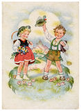 Retro postcard. GDR - CIRCA 1954: Retro postcard printed in the East Germany (GDR) shows two children, circa 1954 Stock Photography