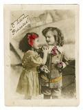 Retro postcard with children stock photos