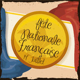 Retro Postcard with Commemorating Button for French National Day, Vector Illustration Royalty Free Stock Image