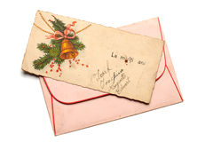 Retro postcard. Retro New Year's greetings postcard with envelope Stock Photography