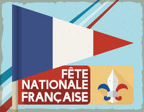 Retro Postcard with Pennant and Label Commemorating French National Day, Vector Illustration Stock Photography