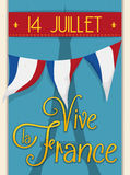 Retro Postcard with Reminder of French Independence Day, Vector Stock Photo