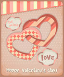 Retro Postcard to the Valentines Day Stock Photos