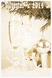 Retro postcard - two champagne glass, gift, christmas, tree with ball stock photography