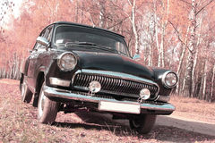 Retro postcard of the vintage car Royalty Free Stock Images