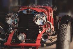 Retro postcard of the vintage car Stock Photo