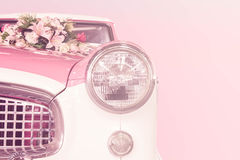 Retro postcard of the vintage car color soft style. Royalty Free Stock Photo