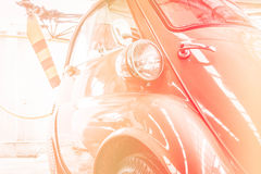 Retro postcard of the vintage car color soft style. Royalty Free Stock Images