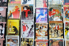 Retro postcards of Paris. Detail of a stand with retro postcards near the river Seine Paris, France Stock Image