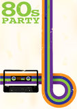 Retro Poster. Vector Retro Poster - 80s Party Flyer With Audio Cassette Tape Stock Photos