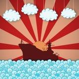 Retro poster of battleship Stock Images
