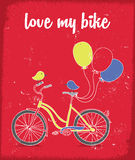 Retro poster with Bicycle and Birds Stock Photography