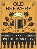 Retro poster of brewery. Vector template illustration royalty free illustration