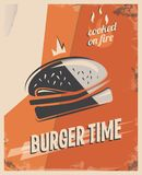 Retro poster with burger with beef meat. restaurant concept and design. Vintage style background.  illustration.  Royalty Free Stock Image