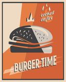 Retro poster with burger with beef meat. restaurant concept and design. Vintage style background.  illustration.  Royalty Free Stock Images