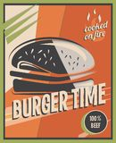 Retro poster with burger with beef meat. restaurant concept and design. Vintage style background.  illustration.  Royalty Free Stock Photography