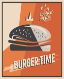 Retro poster with burger with beef meat. restaurant concept and design.  Royalty Free Stock Photo