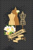 Retro poster Couture. Vector illustration retro poster advertising couture mannequins Royalty Free Stock Photo