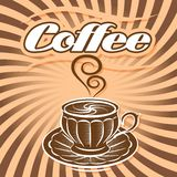 Retro poster with cup of coffee and curlicues Stock Image