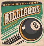 Retro poster design for billiards tournament. Vintage ad concept with eight ball game. Sport and leisure theme on old paper texture. No gradients or effects Stock Photos