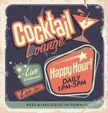 Retro poster design for cocktail lounge. Cocktail party vector concept. Vintage card design on old paper texture for bar or restaurant. Food and drink concept Royalty Free Stock Photography