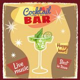 Retro poster design for cocktailbar. Vintage poster, happy hour, card for bar or restaurant. Vector, isolated. Retro poster design for cocktailbar. Vintage Royalty Free Stock Photo