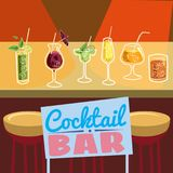 Retro poster design for cocktailbar. Vintage poster, card for bar or restaurant. Vector, isolated. Retro poster design for cocktailbar. Vintage poster, card for Royalty Free Stock Photography