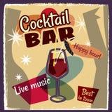 Retro poster design for cocktailbar. Vintage poster, happy hour, card for bar or restaurant. Vector, isolated. Retro poster design for cocktailbar. Vintage Stock Images