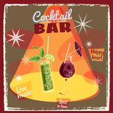 Retro poster design for cocktailbar. Vintage poster, happy hour, card for bar or restaurant. Vector, isolated. Retro poster design for cocktailbar. Vintage Royalty Free Stock Photography
