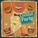 Retro poster design for cocktailbar. Vintage poster, happy hour, card for bar or restaurant. Vector, isolated. Retro poster design for cocktailbar. Vintage Stock Photo