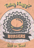 Retro poster design with hot, tasty, delicious burger. Royalty Free Stock Images