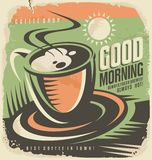 Retro poster design template for coffee shop. Good morning with cup of coffee. Retro poster design template for coffee shop. Vintage ad concept with hot drink Stock Image