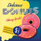 Retro poster of donuts Royalty Free Stock Photos