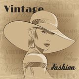 Retro poster of fashion young woman Stock Photography