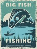 Retro poster of fisherman club with illustration of big fish. Vector fishing lake, fisher man on boat royalty free illustration