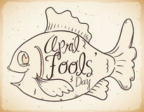 Retro Poster of Fools' Day with April Fish, Vector Illustration Royalty Free Stock Photos