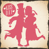 Retro Poster with a Formal Dressing Couple for Kiss Day, Vector Illustration stock photos