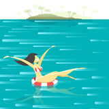 Retro poster with a girl floating in the sea. Royalty Free Stock Photo