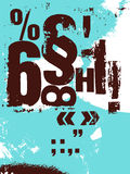 Retro poster in grunge style with typographic signs. Vector illustration. Stock Photos