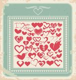 Retro poster with heart icons for Valentines day. Retro poster with  heart icons, symbols and signs for Valentines day. Vintage card design with set of heart Royalty Free Stock Photography