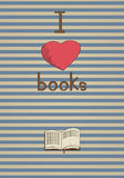 Retro poster. I love books. Royalty Free Stock Photos