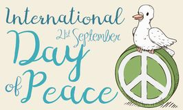 Retro Poster with Cute Dove for International Day of Peace, Vector Illustration Stock Photography