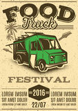 Retro poster for invitations on street food festival with food truck Stock Image