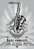 Retro poster for jazz concert with saxophone and piano Royalty Free Stock Photos