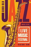 Retro poster for the jazz festival with saxophone Royalty Free Stock Image
