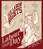 Retro Poster with Man Demanding Fair Labor Rights, Vector Illustration Royalty Free Stock Photography