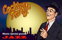 Retro poster with men and cocktail and cityscape. Vector illustration Stock Images