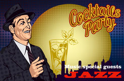 Retro poster with men and cocktail and cityscape. Vector illustration Royalty Free Stock Photos